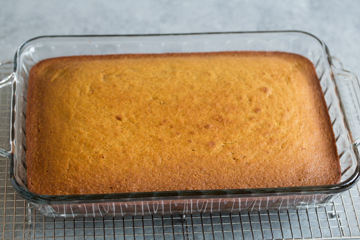 Finsihed pumpkin cake shown here on cooling rack