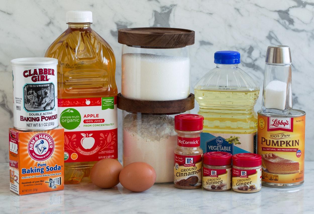 Pumpkin Muffins ingredients needed shown here