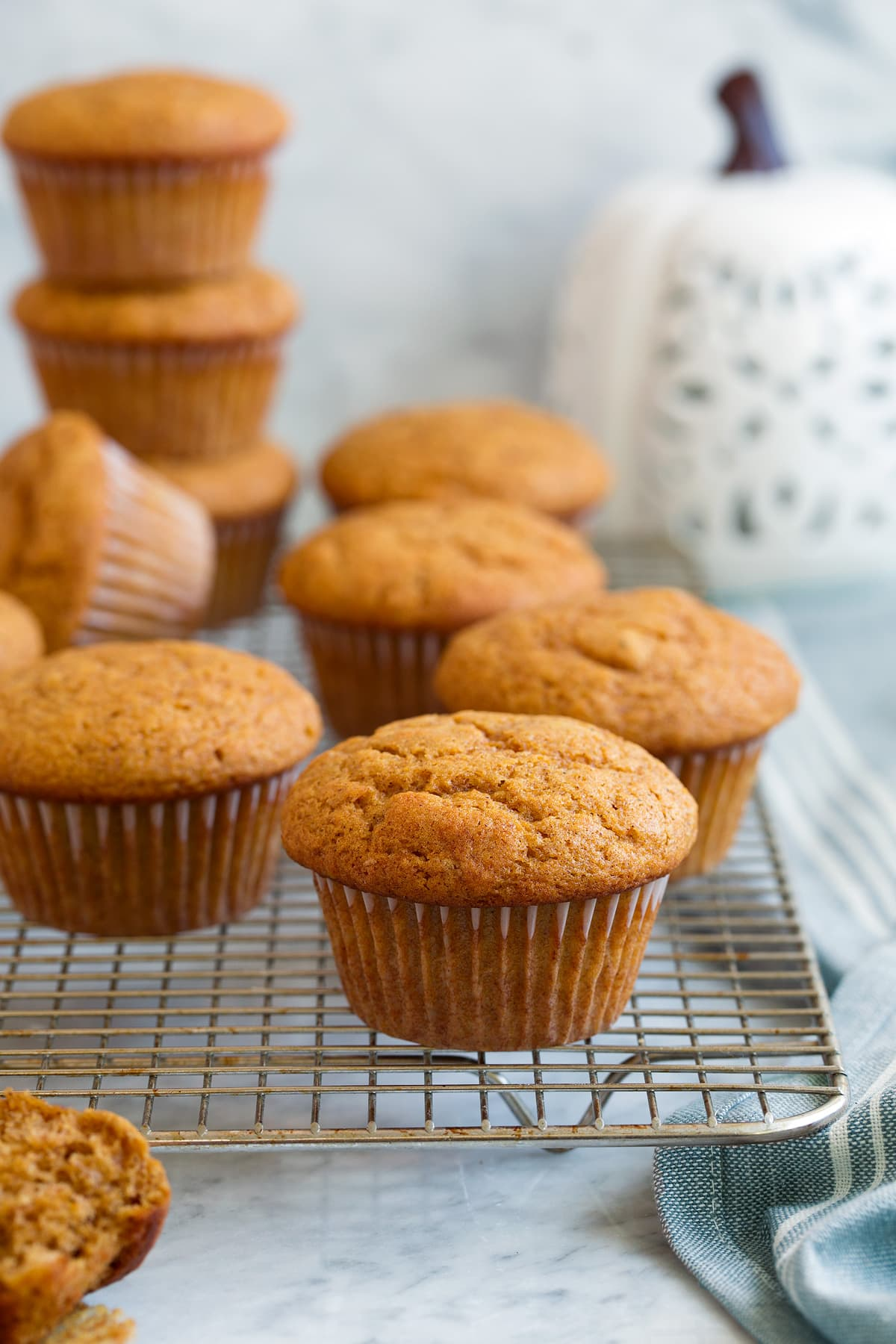 Pumpkin Muffins shown here on a wire cooling rack