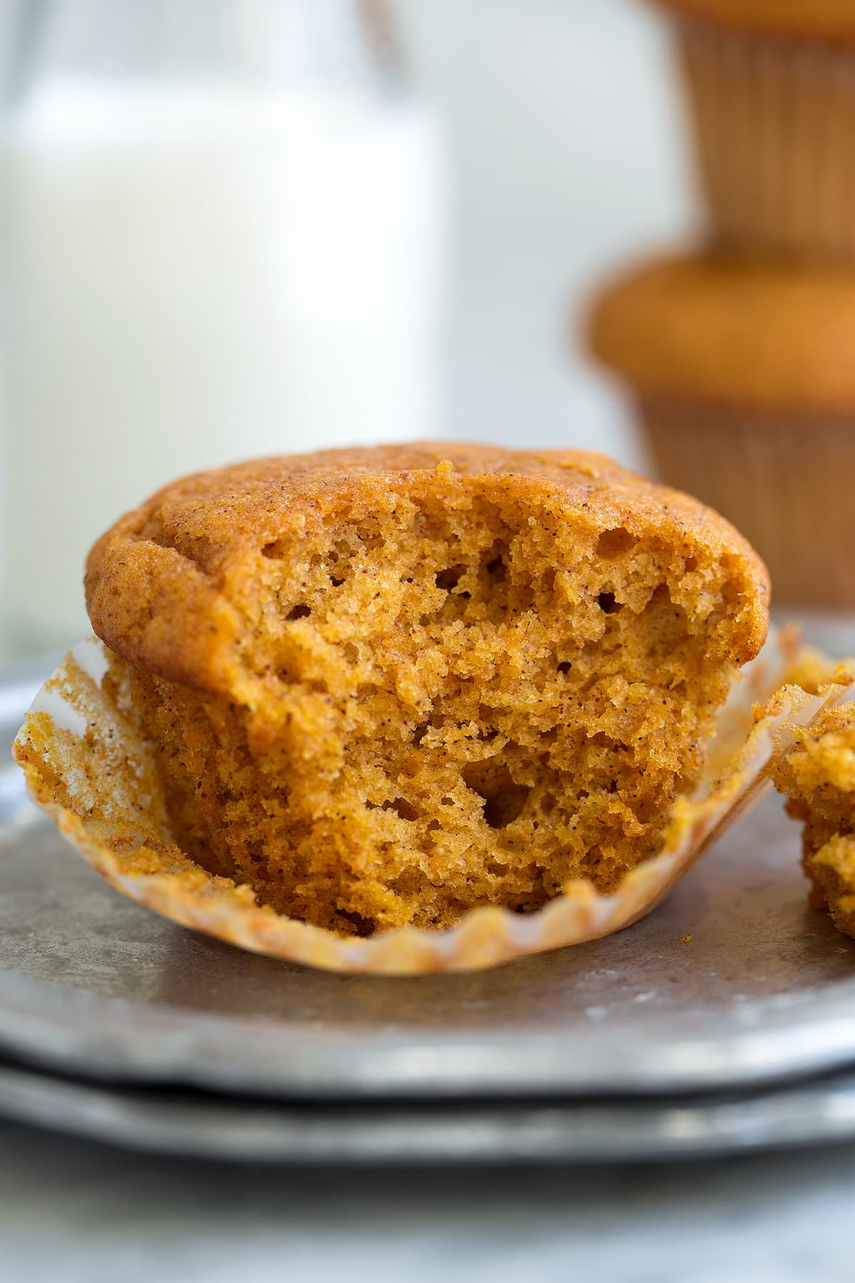 Texture of Pumpkin Muffins shown here after biting into