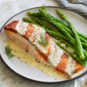 Salmon with Creamy Garlic Dijon Sauce