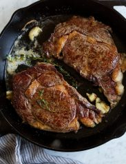 Skillet Seared Steak with Garlic Butter Sauce