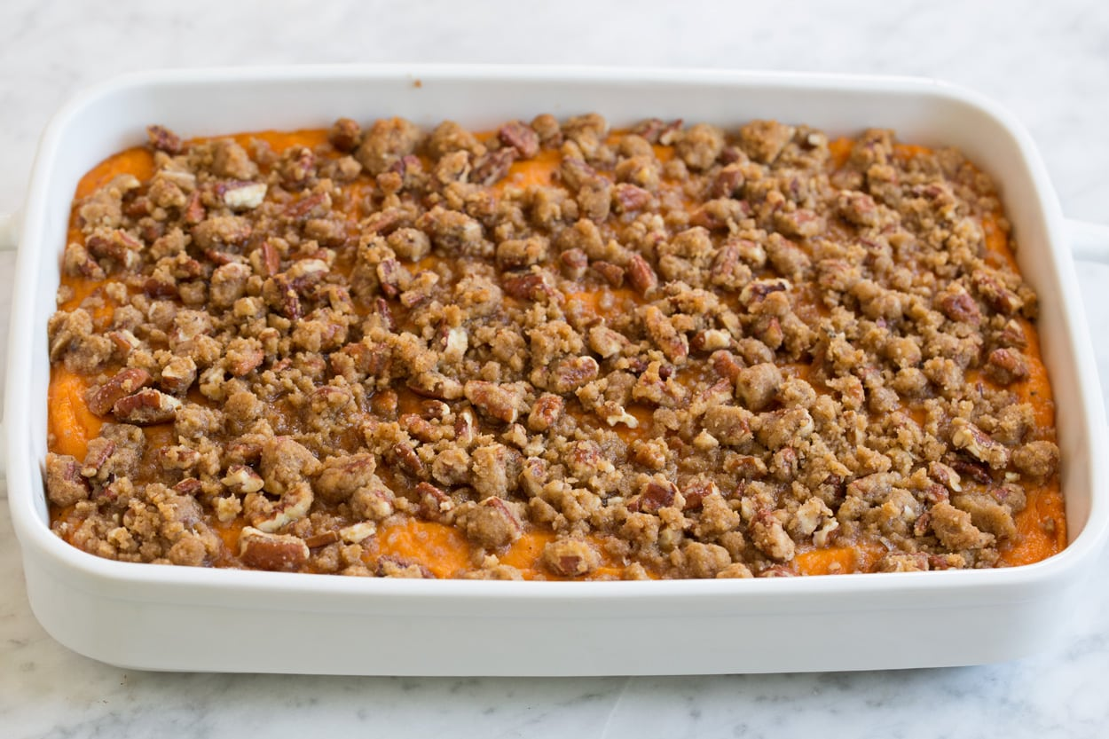 Sweet Potato Casserole after baking.