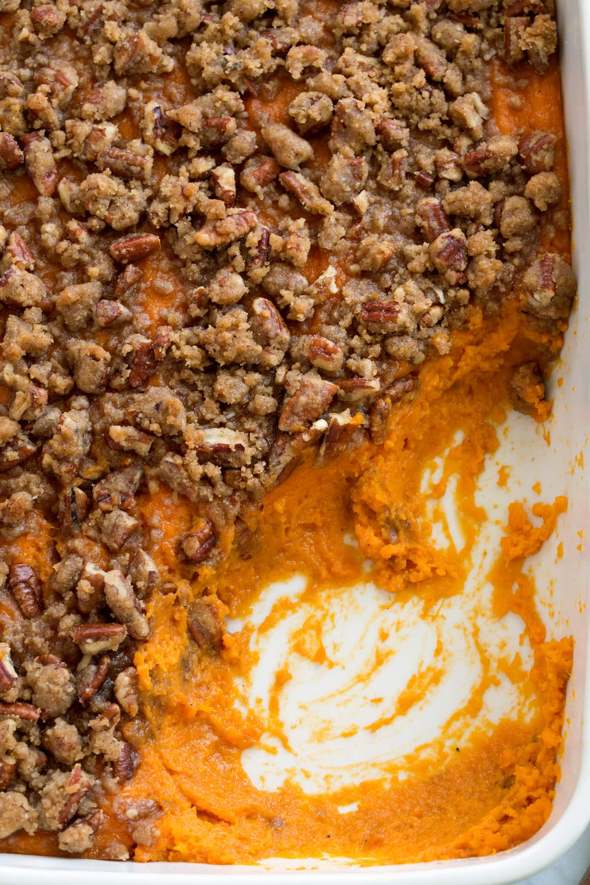 Overhead image of sweet potato casserole.