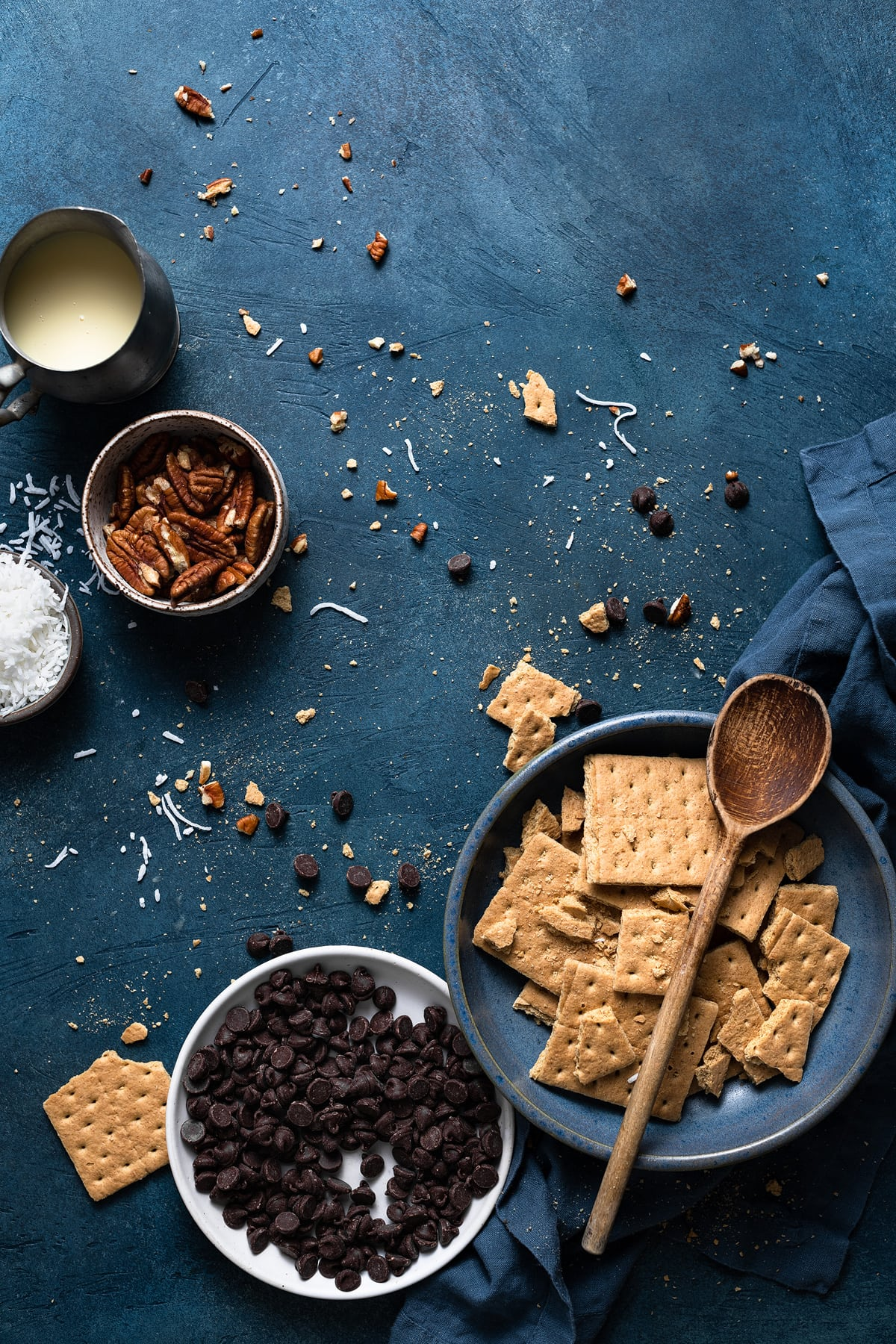 Ingredients needed to make magic cookie bars shown here.