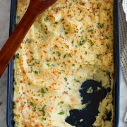 Baked Mashed Potatoes with Parmesan and Mozzarella