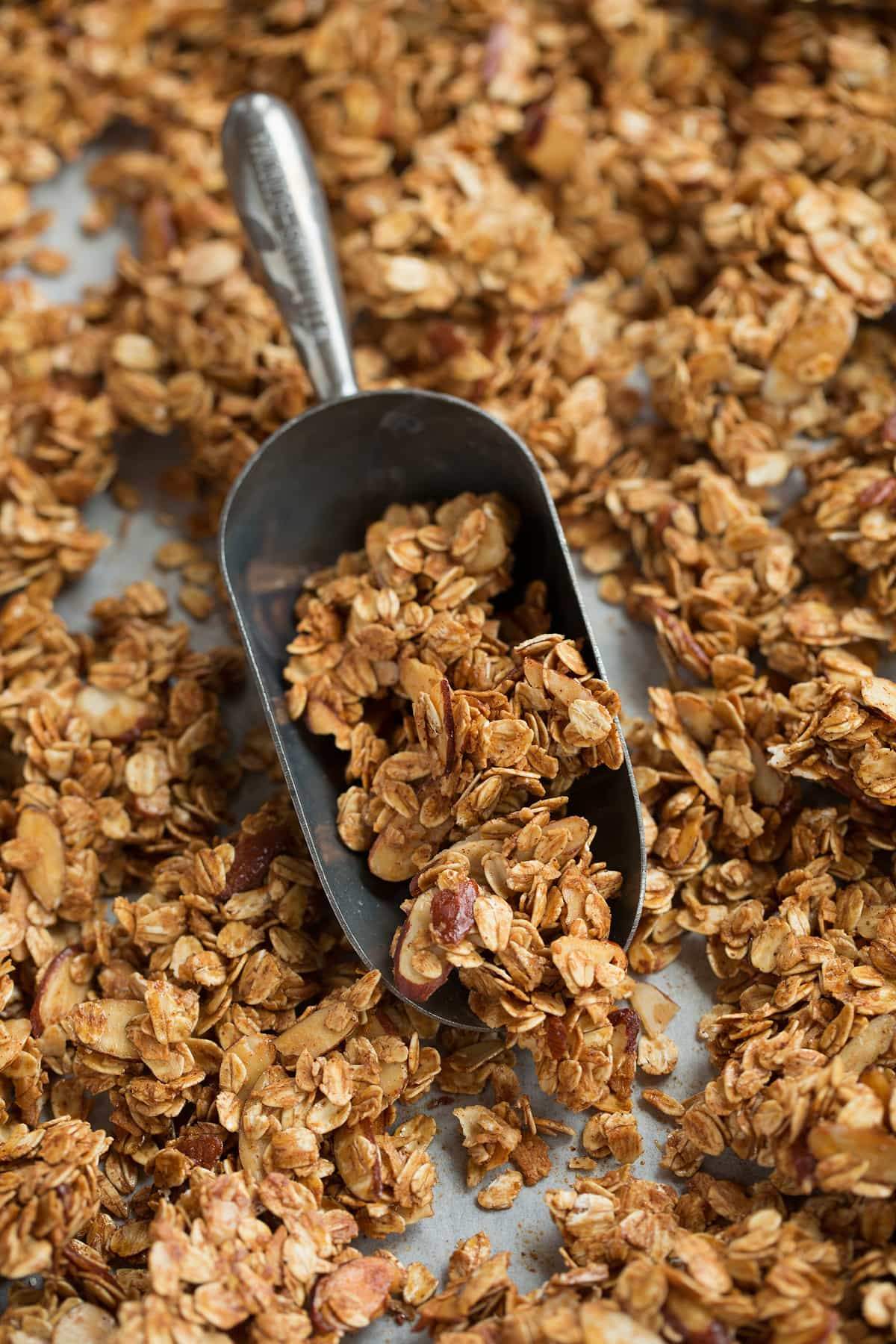 Granola shown in a scoop.