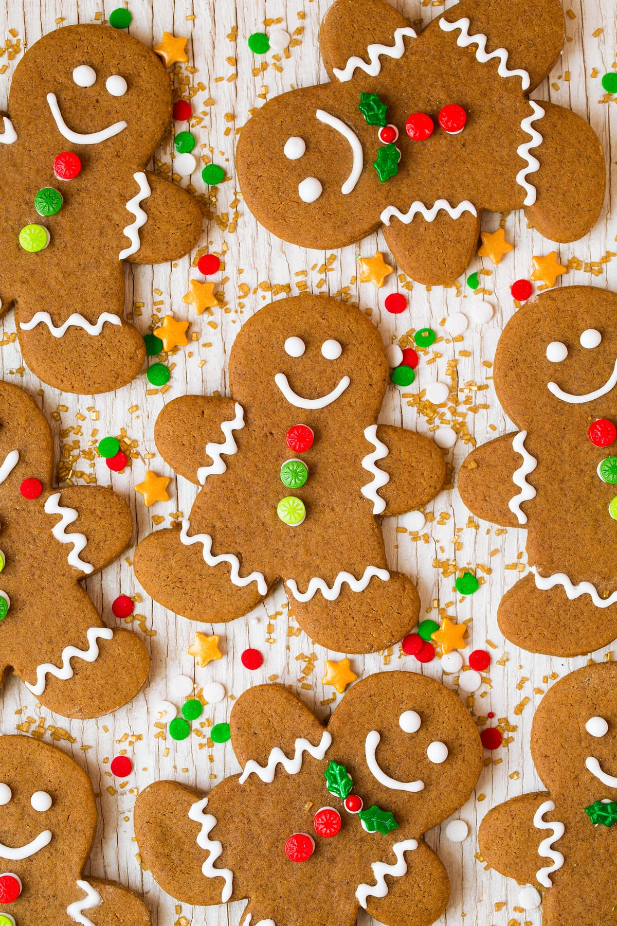 Decorated Gingerbread Cookies with icing and colorful candies.