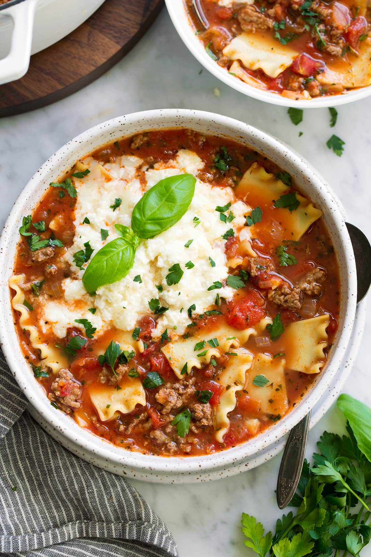 crockpot lasagna soup with sausage