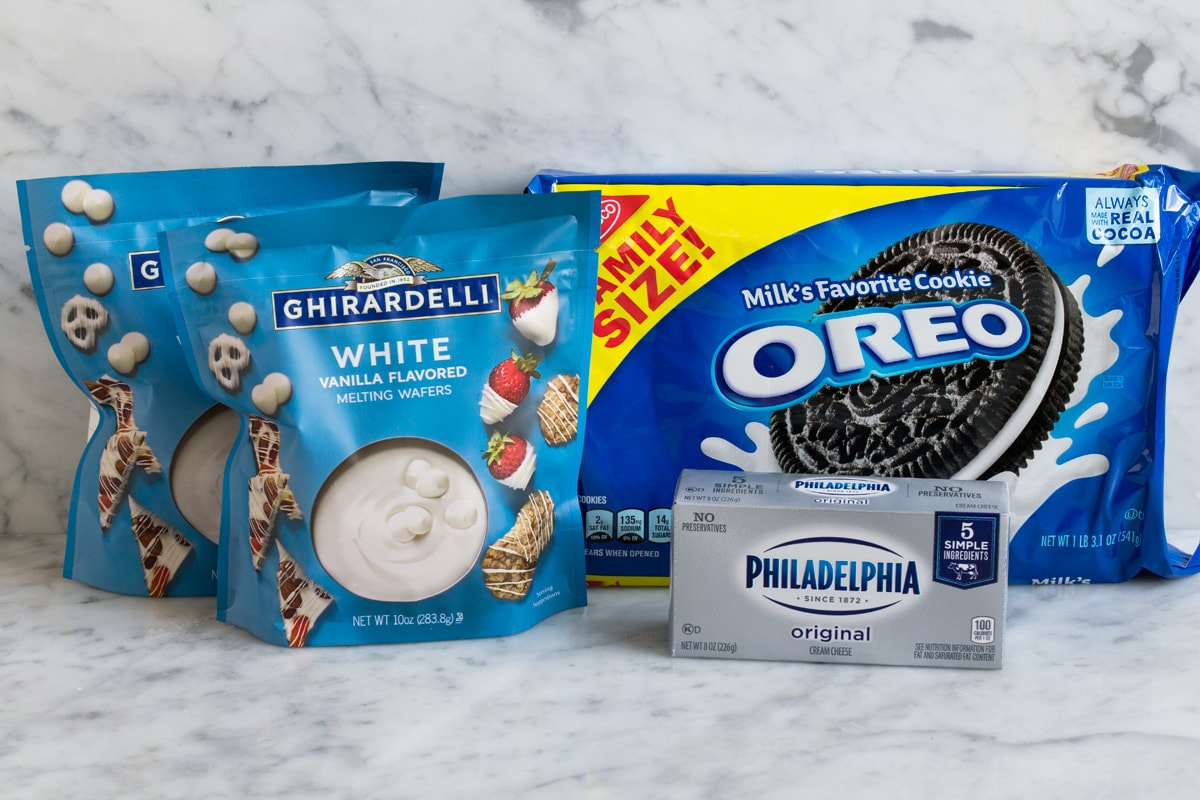 Ingredients needed to make oreo balls shown here.