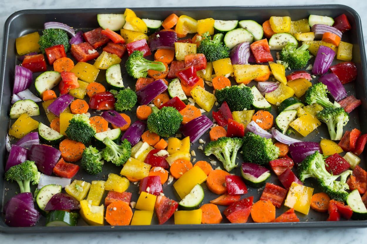 How to Make Roasted Vegetables on a baking sheet.