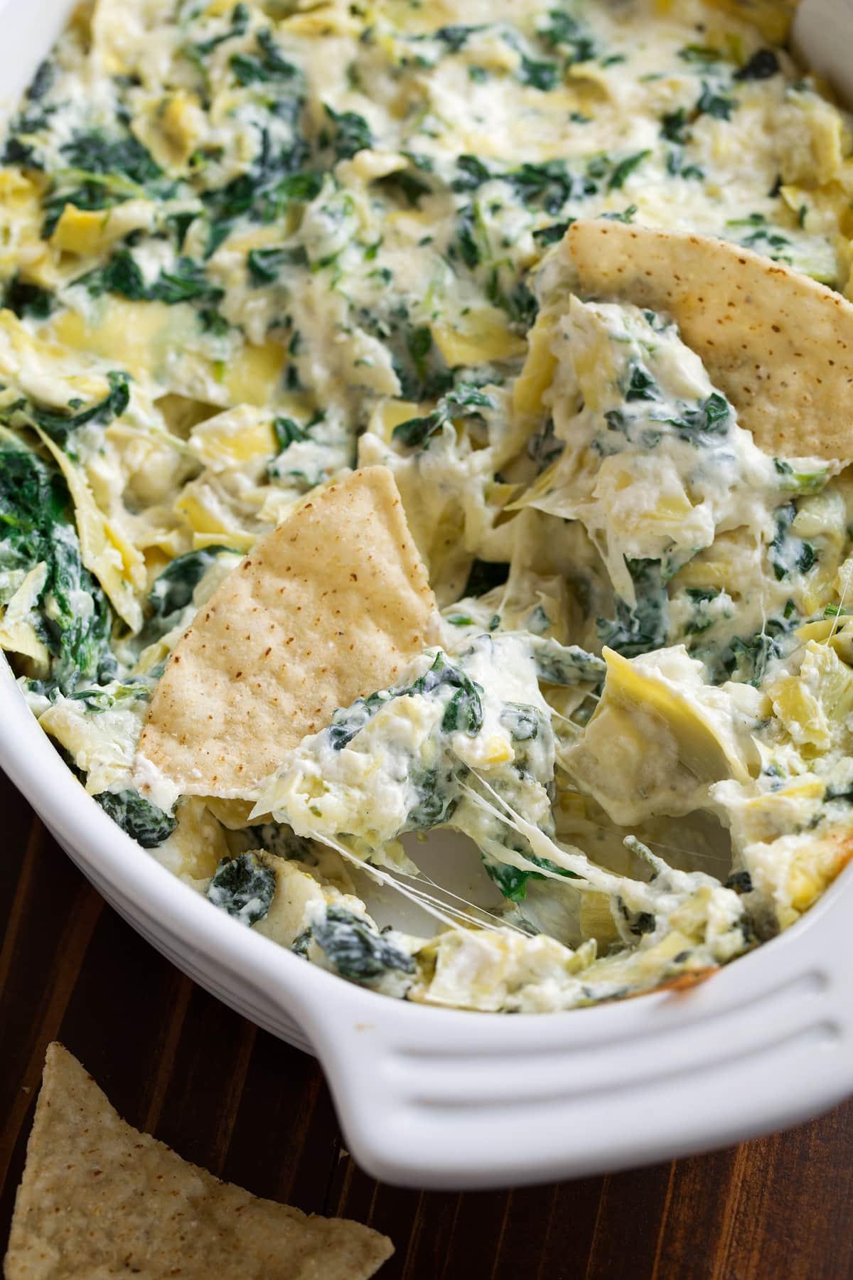 Spinach Artichoke Dip in baking dish.