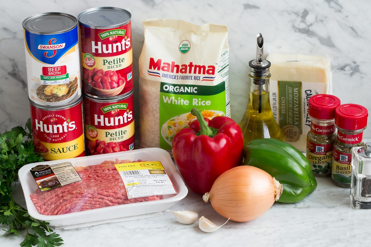 Ingredients shown here that are needed to make stuffed pepper soup.