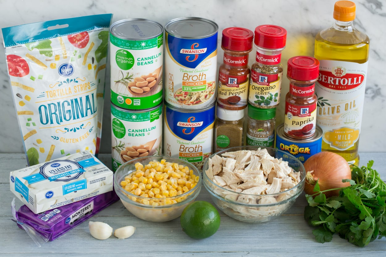Ingredients needed to make white chicken chili shown here.
