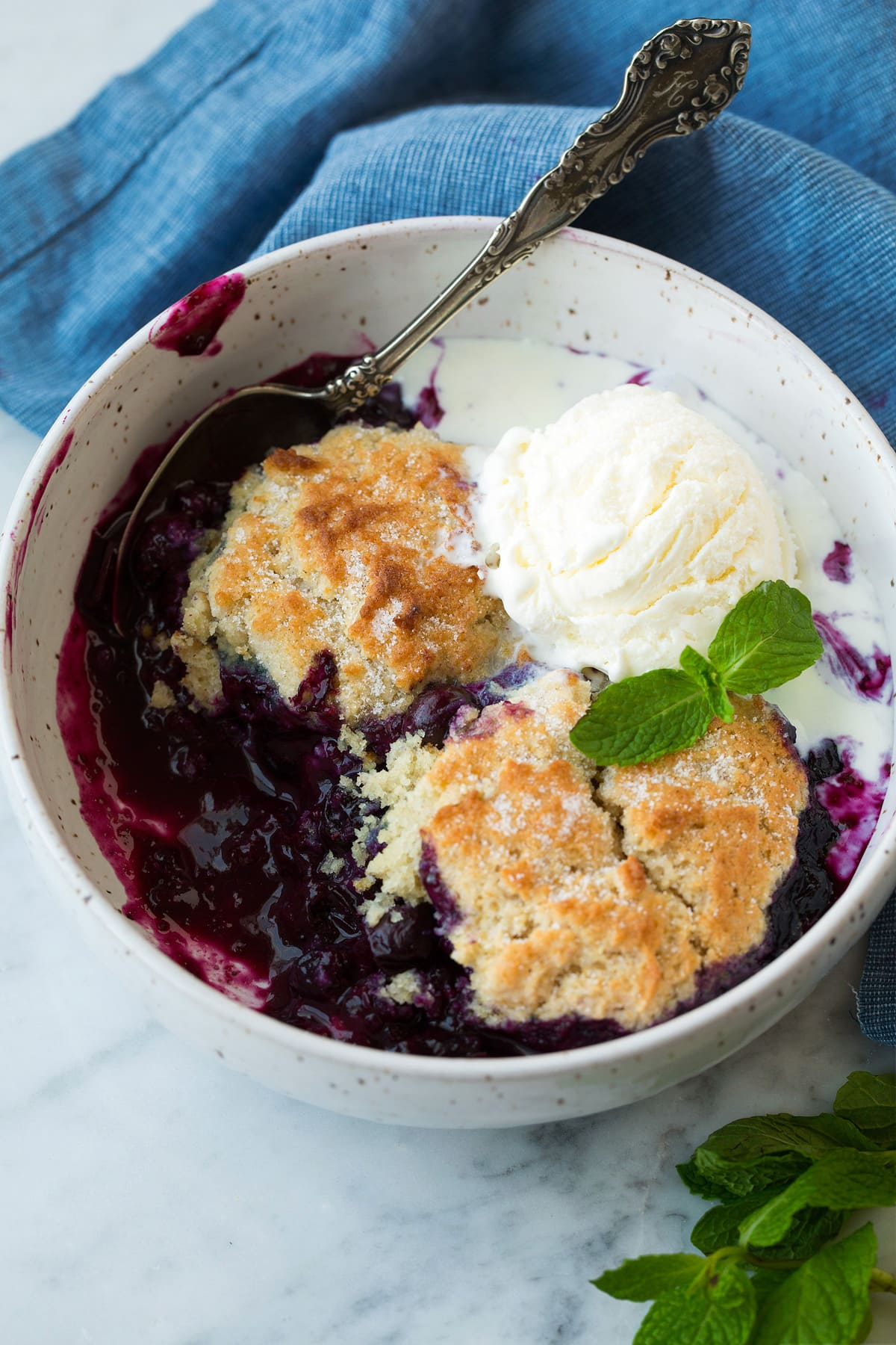 serving of Blueberry Cobbler topped with ice cream in white bowl
