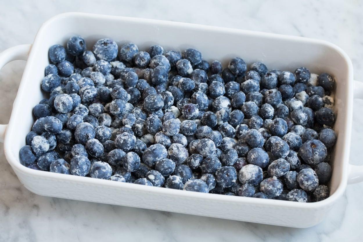 unbaked blueberry filling for blueberry cobbler