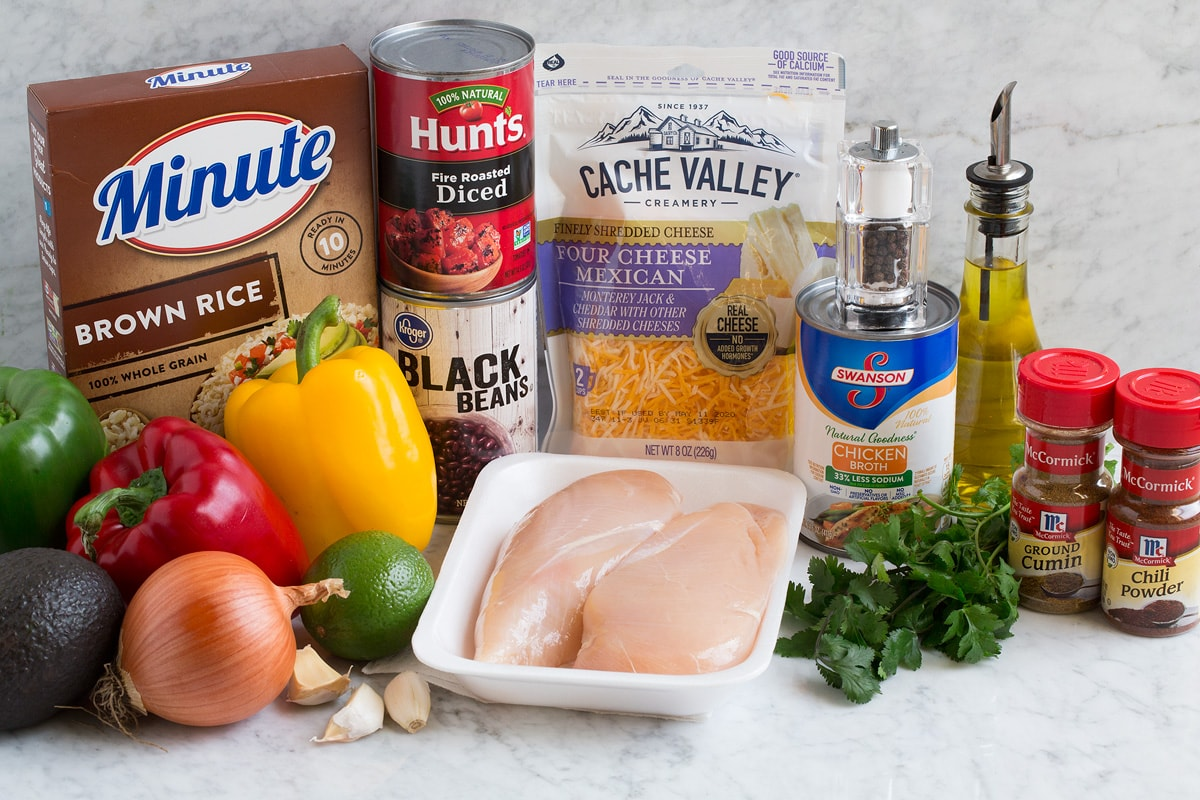 Image showing ingredients that go into chicken faijta rice bowls.