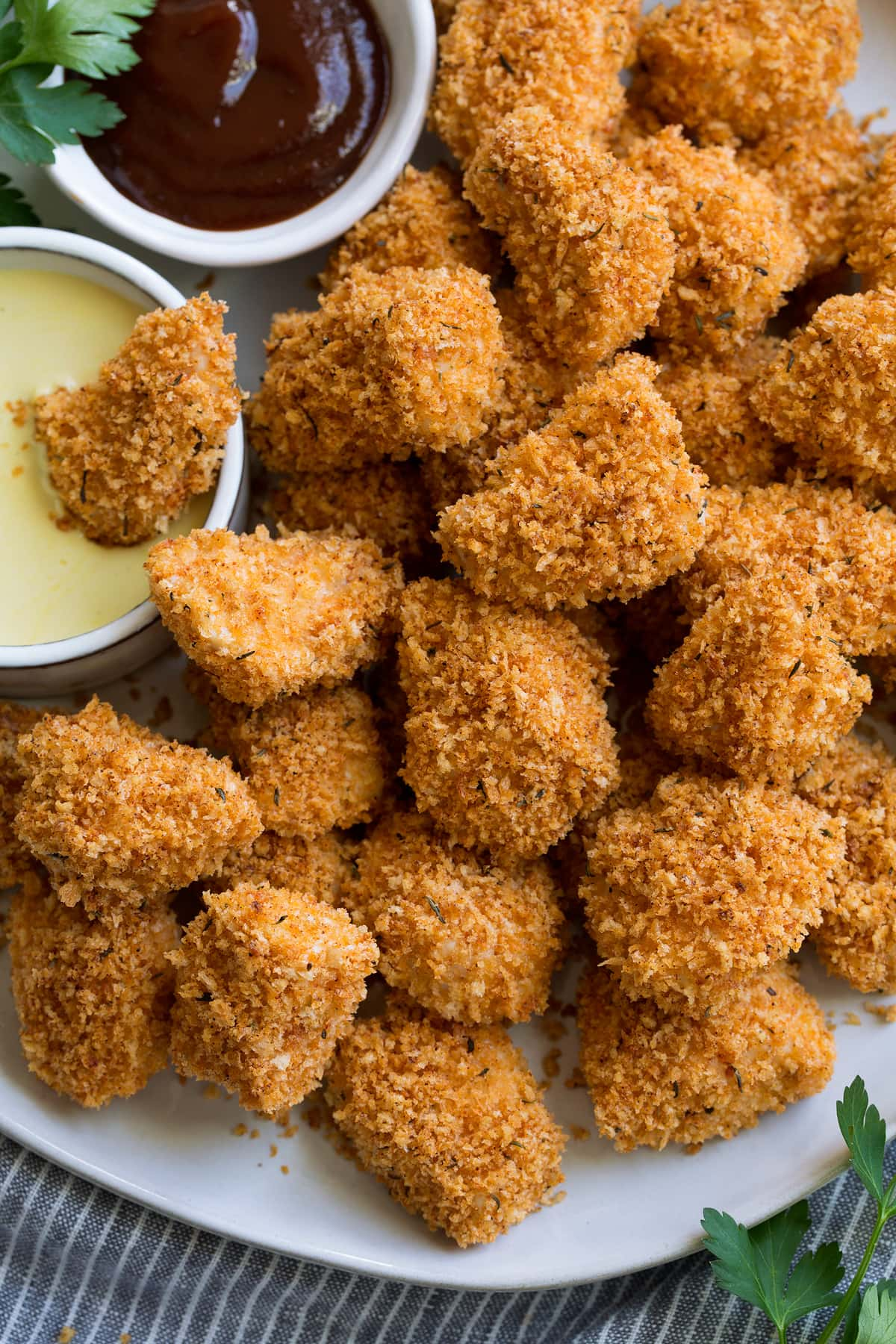Close up image of Chicken Nuggets nuggets showing crispy panko coating.