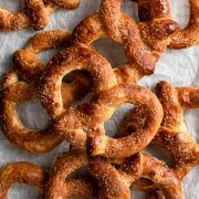 Pile of soft homemade auntie anne's style pretzels.