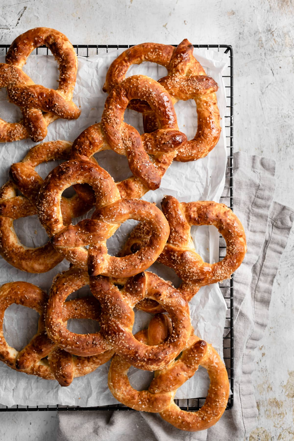 Pretzels on cooling rack.