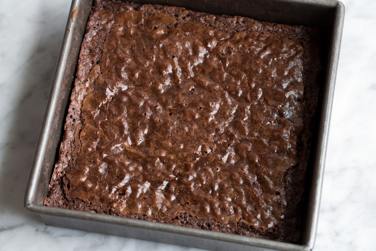 Brownies being baked in baking dish.