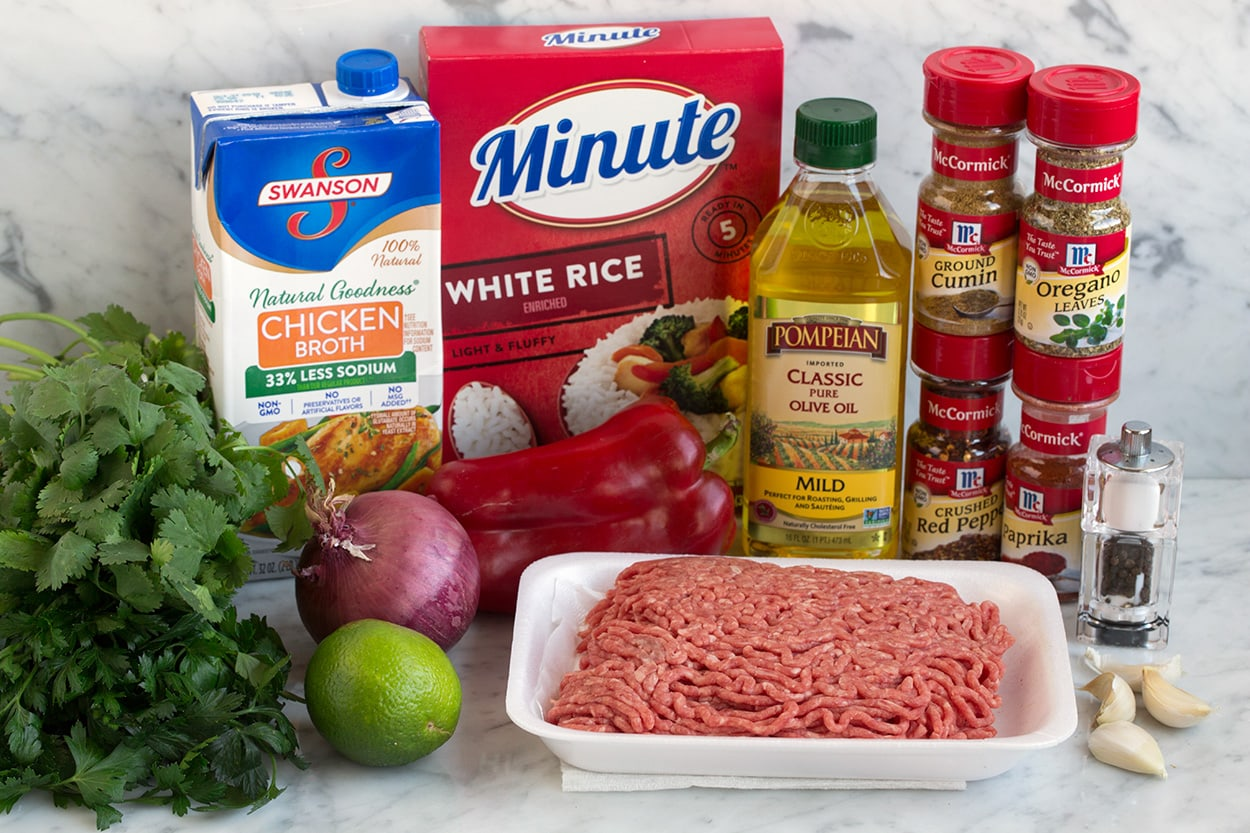 Ingredients shown here to make chimichurri ground beef and rice.