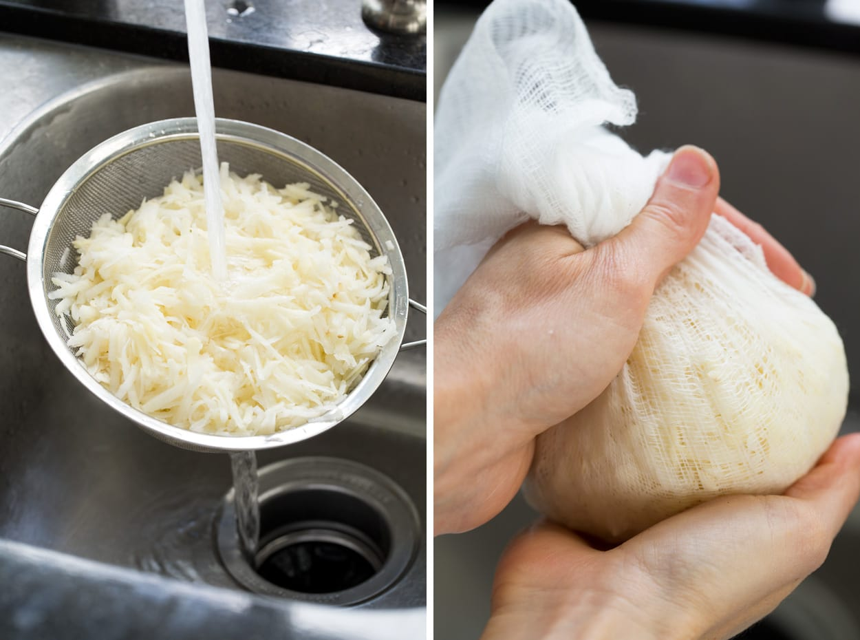 Rinsing shredded potatoes in a fine mesh strainer in the sink then wrapping in cheesecloth and pressing out excess liquid.