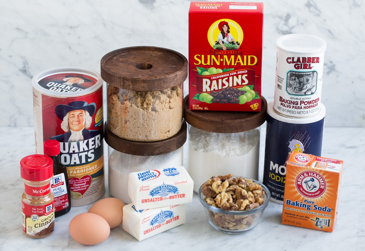 Ingredients needed to make oatmeal cookies shown here.