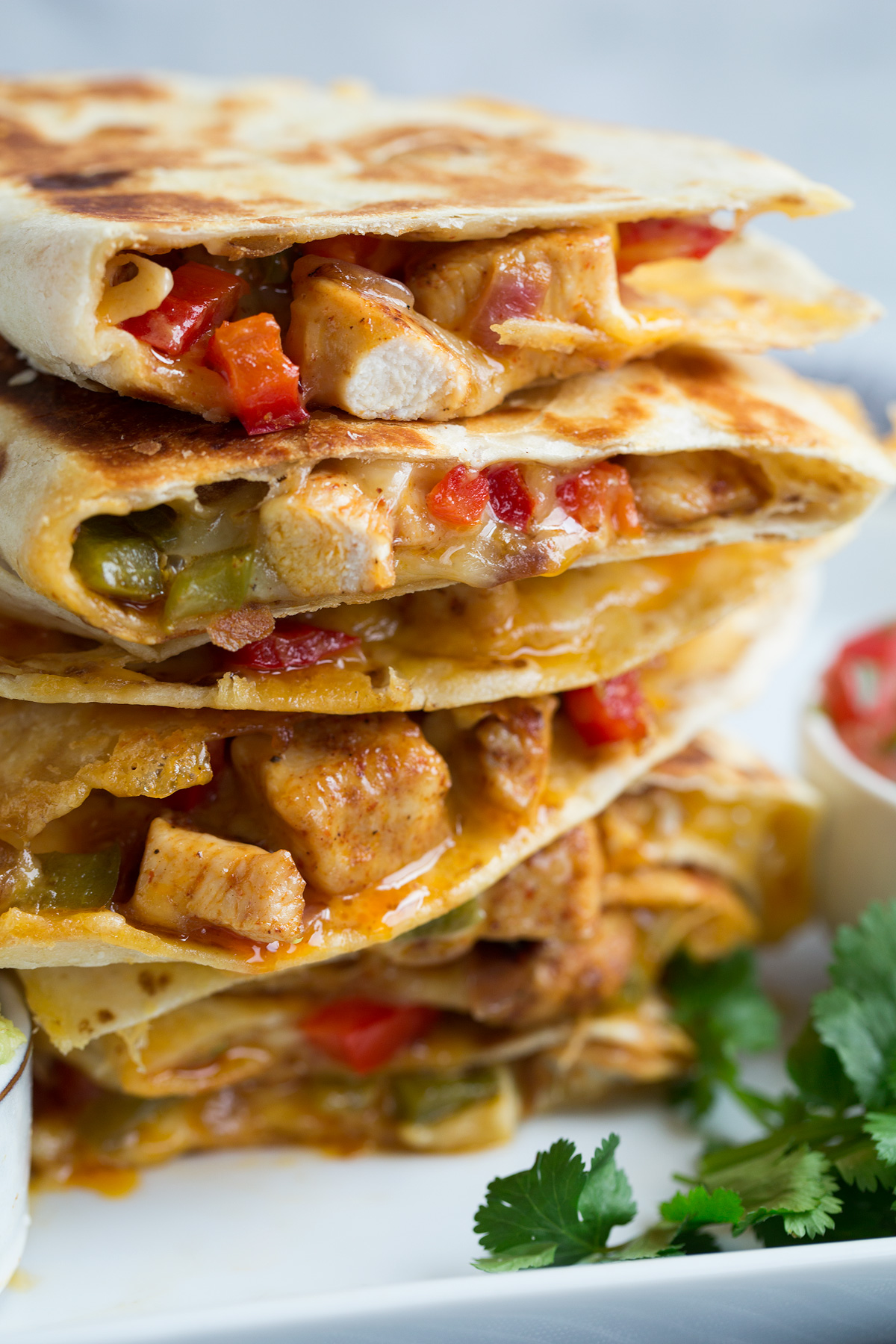 Stack of loaded quesadillas.