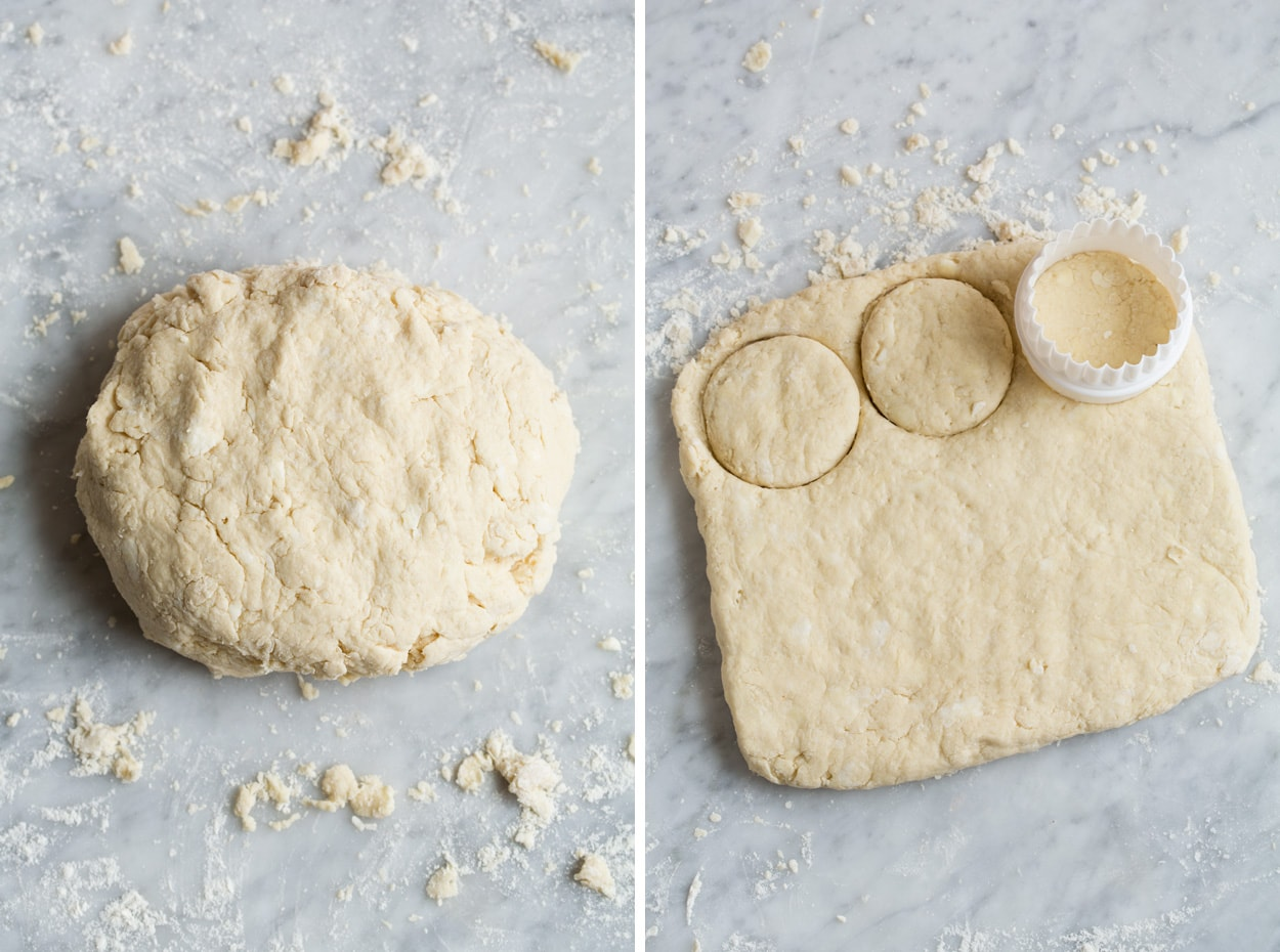 Forming flour mixture into a ball on a floured surface, then patting dough to a square and cutting into rounds to make biscuits for strawberry shortcake.