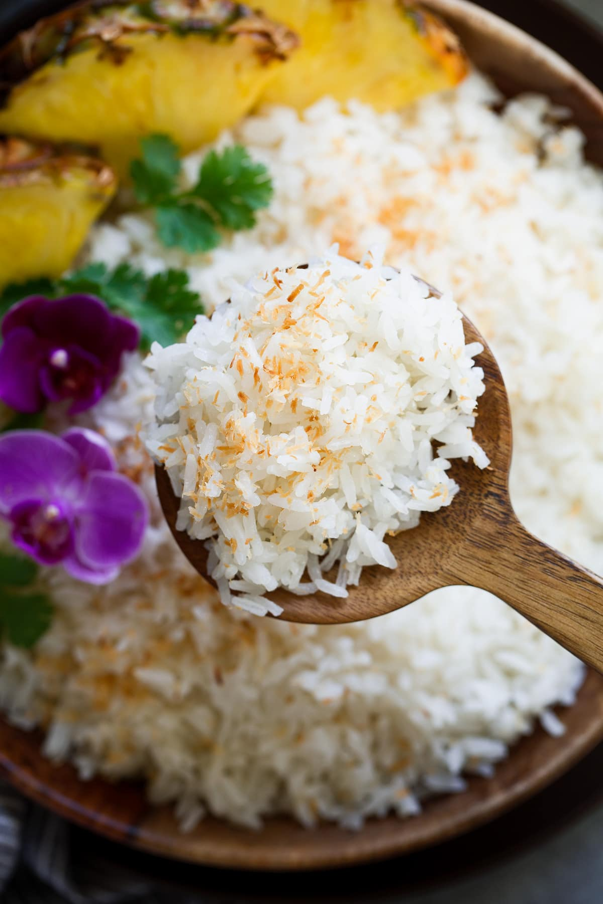 Close up image of coconut rice garnished with toasted coconut.