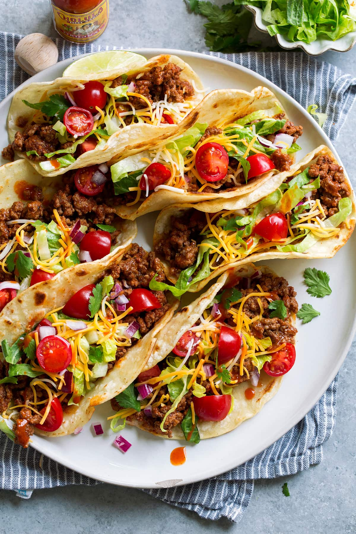 Plate full of tacos.
