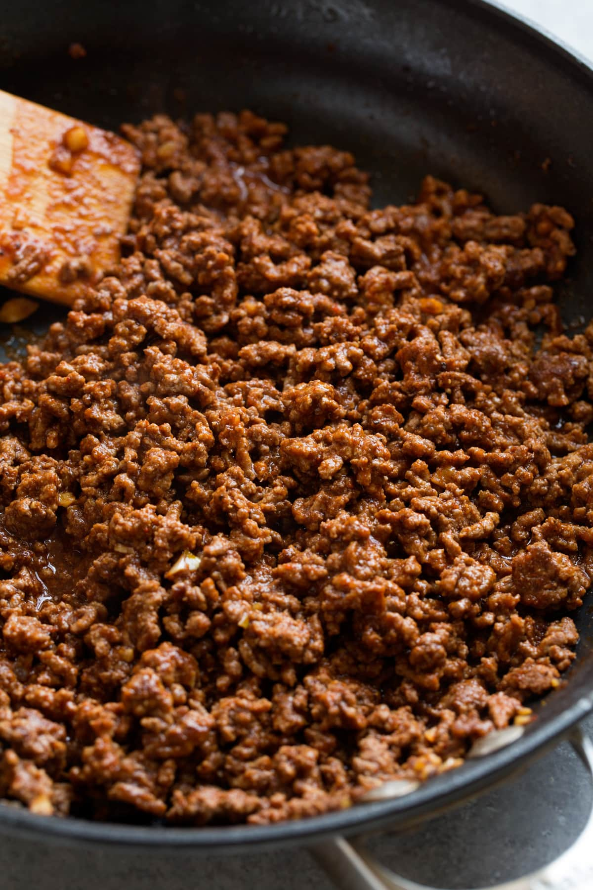 Ground beef taco meat filling in a skillet.