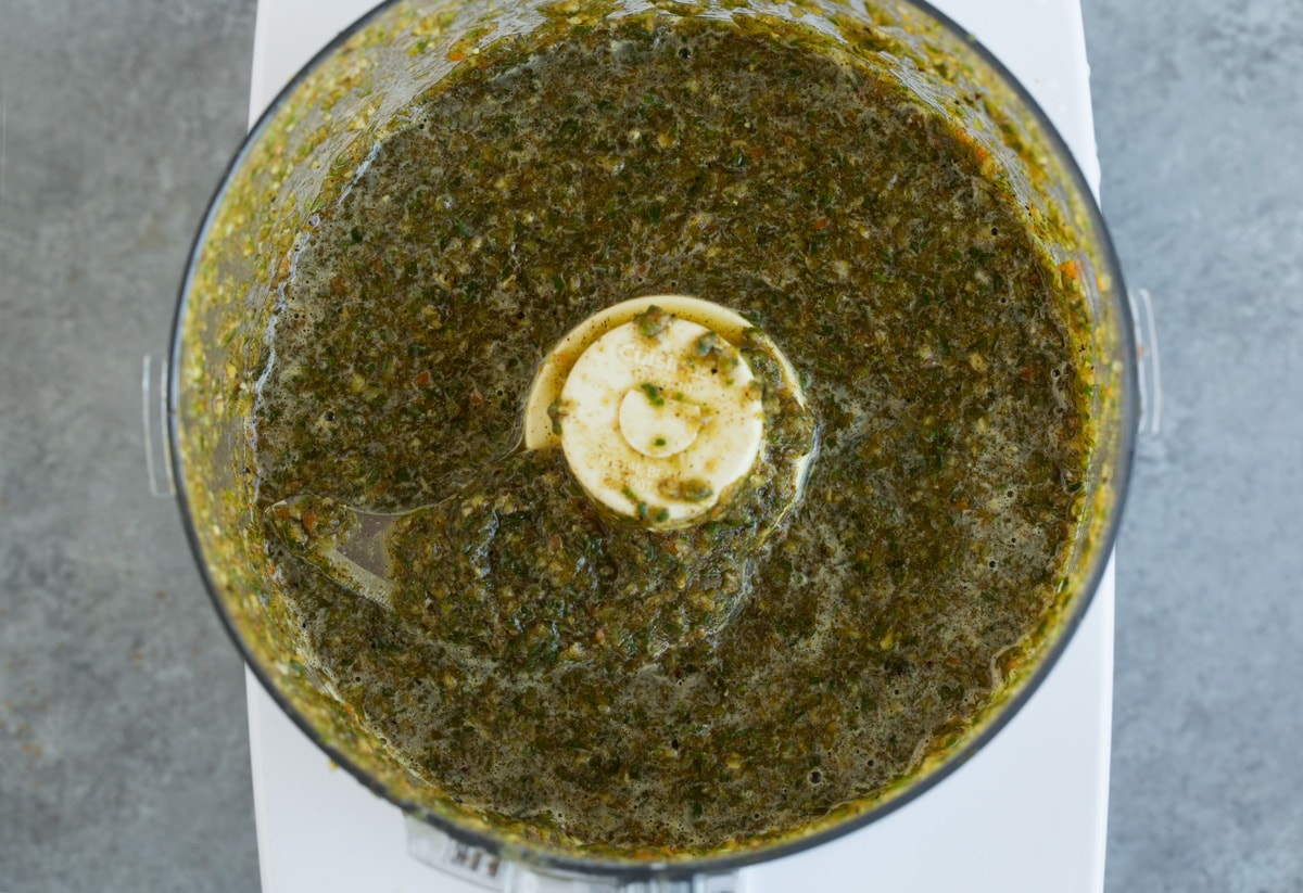 Jerk chicken marinade after pureeing in food processor.
