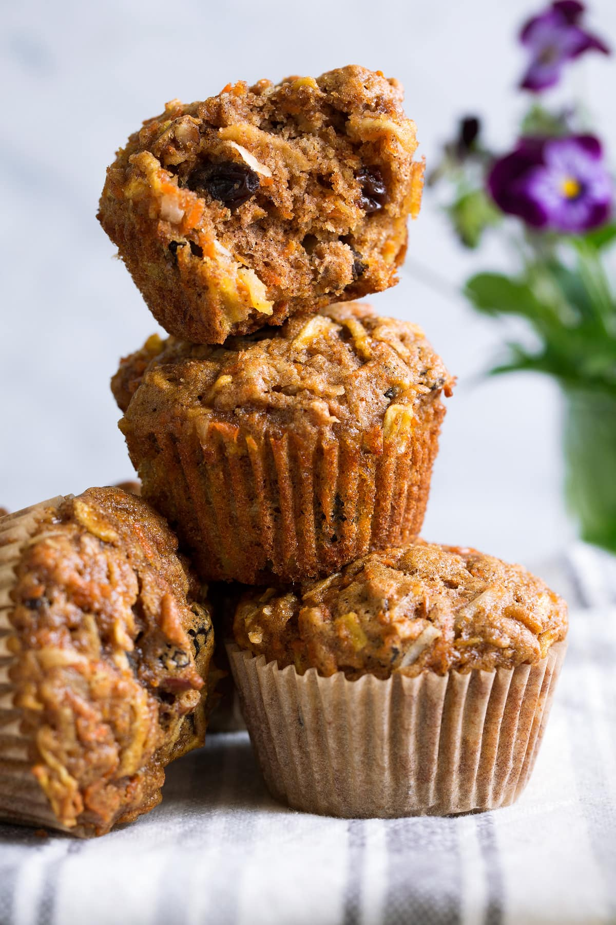 Stack of morning glory muffins
