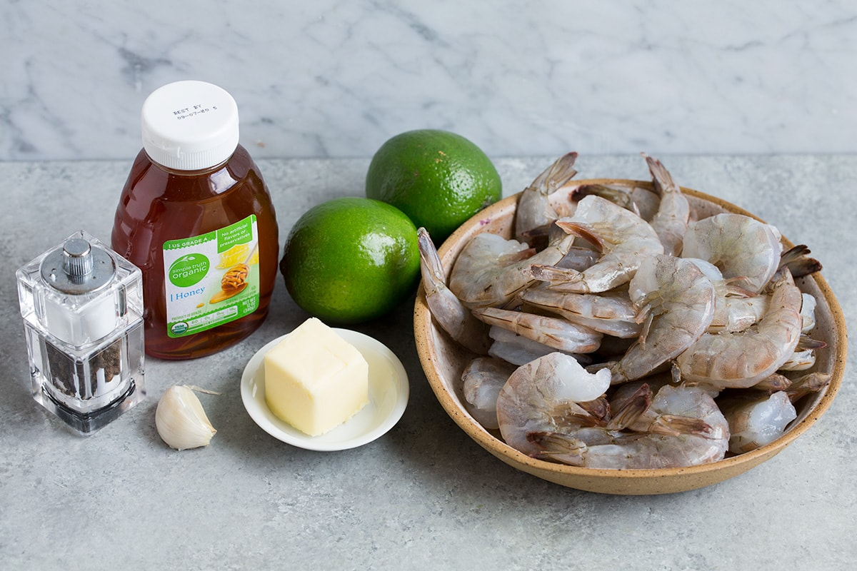 Ingredients to make shrimp with honey and lime shown here.