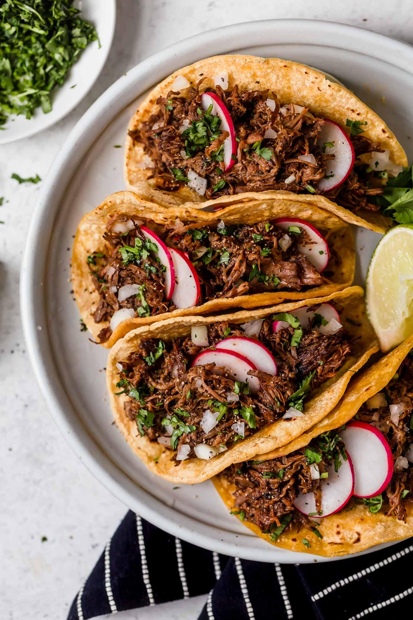 Barbacoa beef corn tortillas, Mexico
