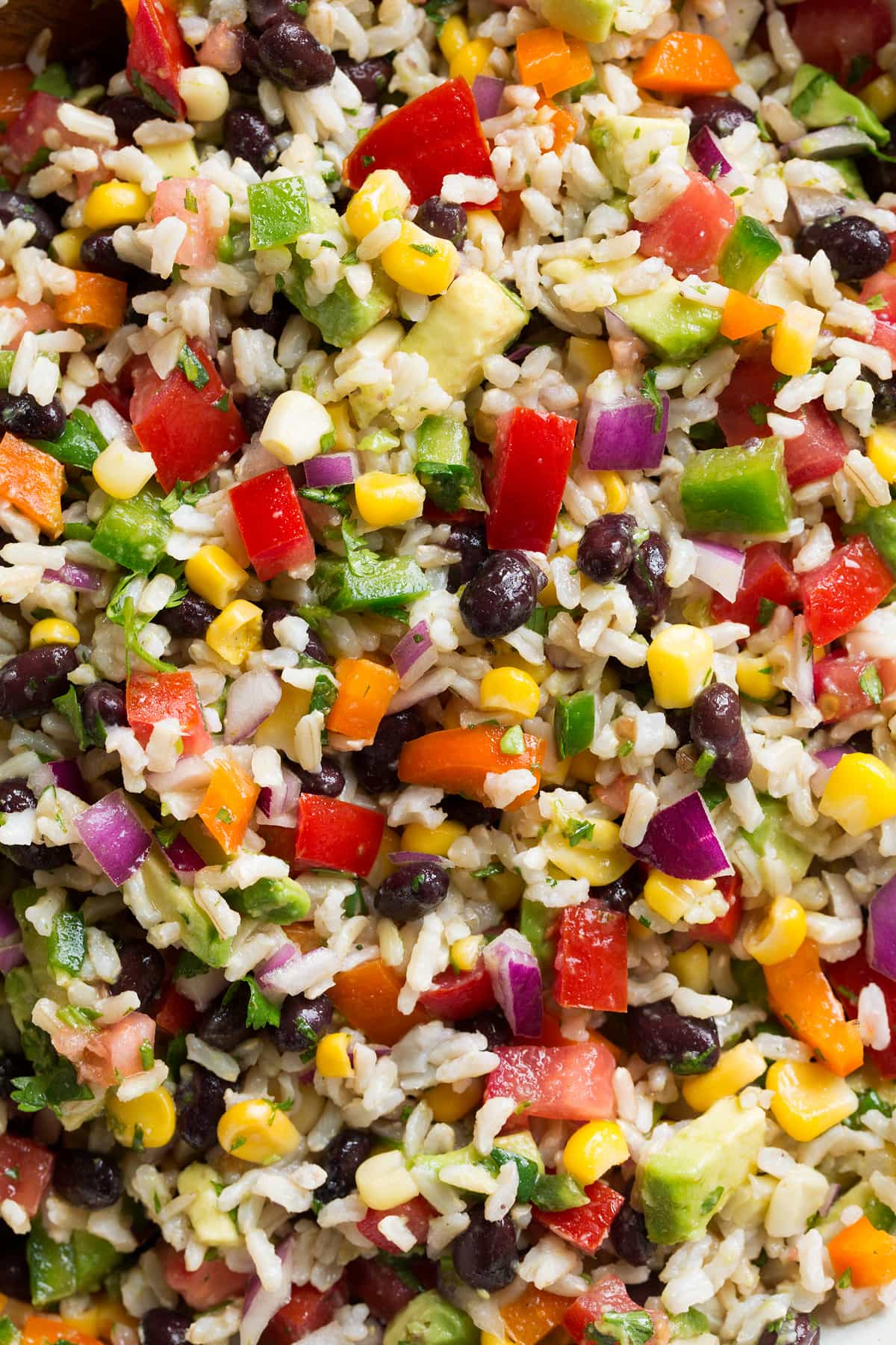 Close up image of rice with colorful vegetables and black beans.