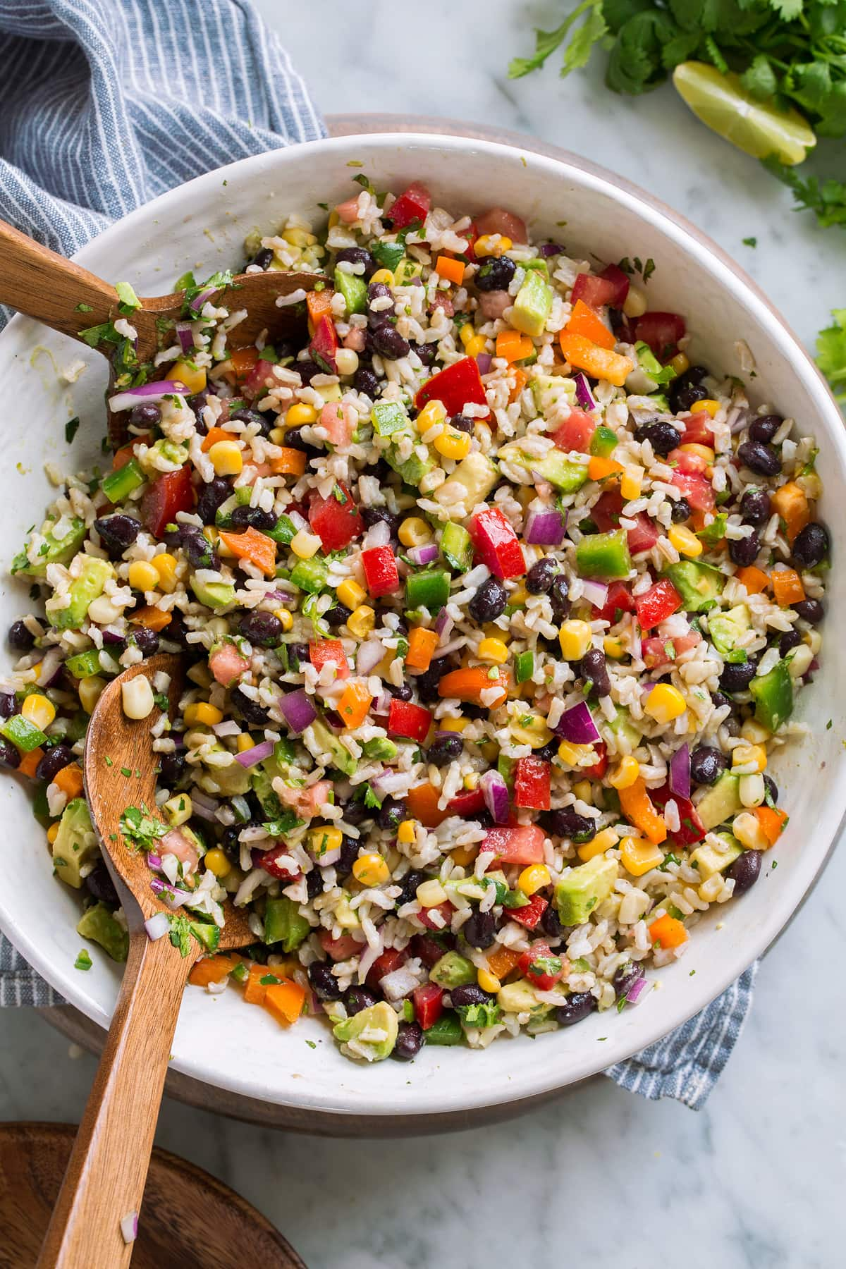 Bowl full of rice with colorful vegetables