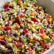 Fiesta rice recipe in a large white serving bowl.