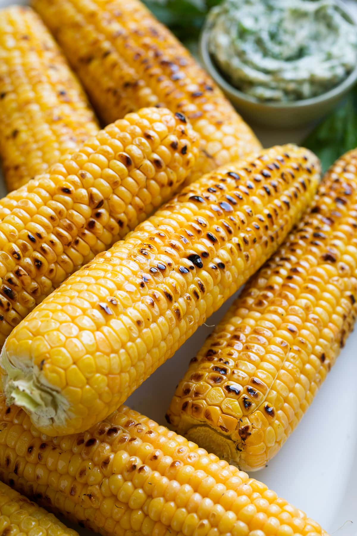Close up image of stack of grilled corn on the cob.