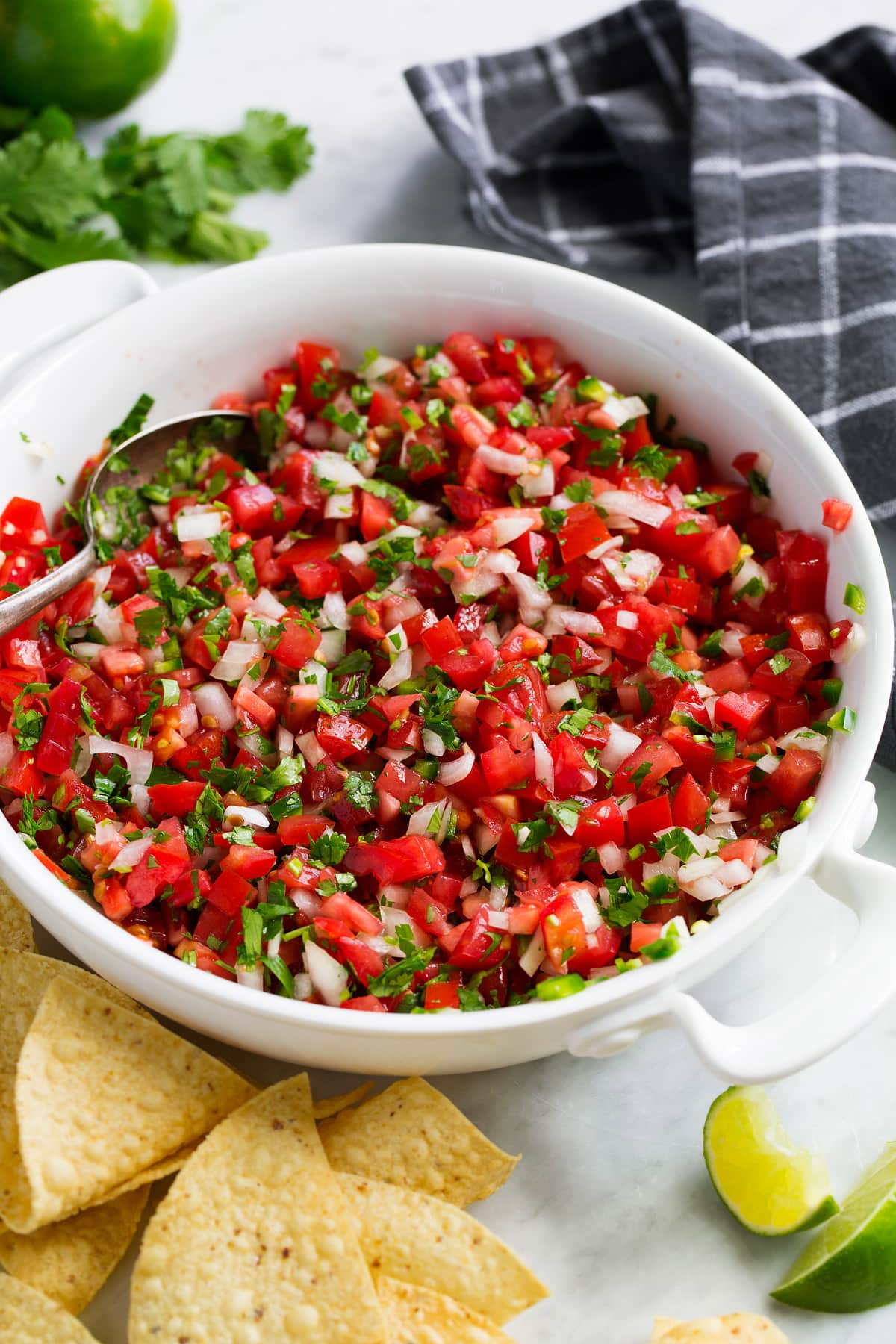 Bowl full of fresh pico de gallo.