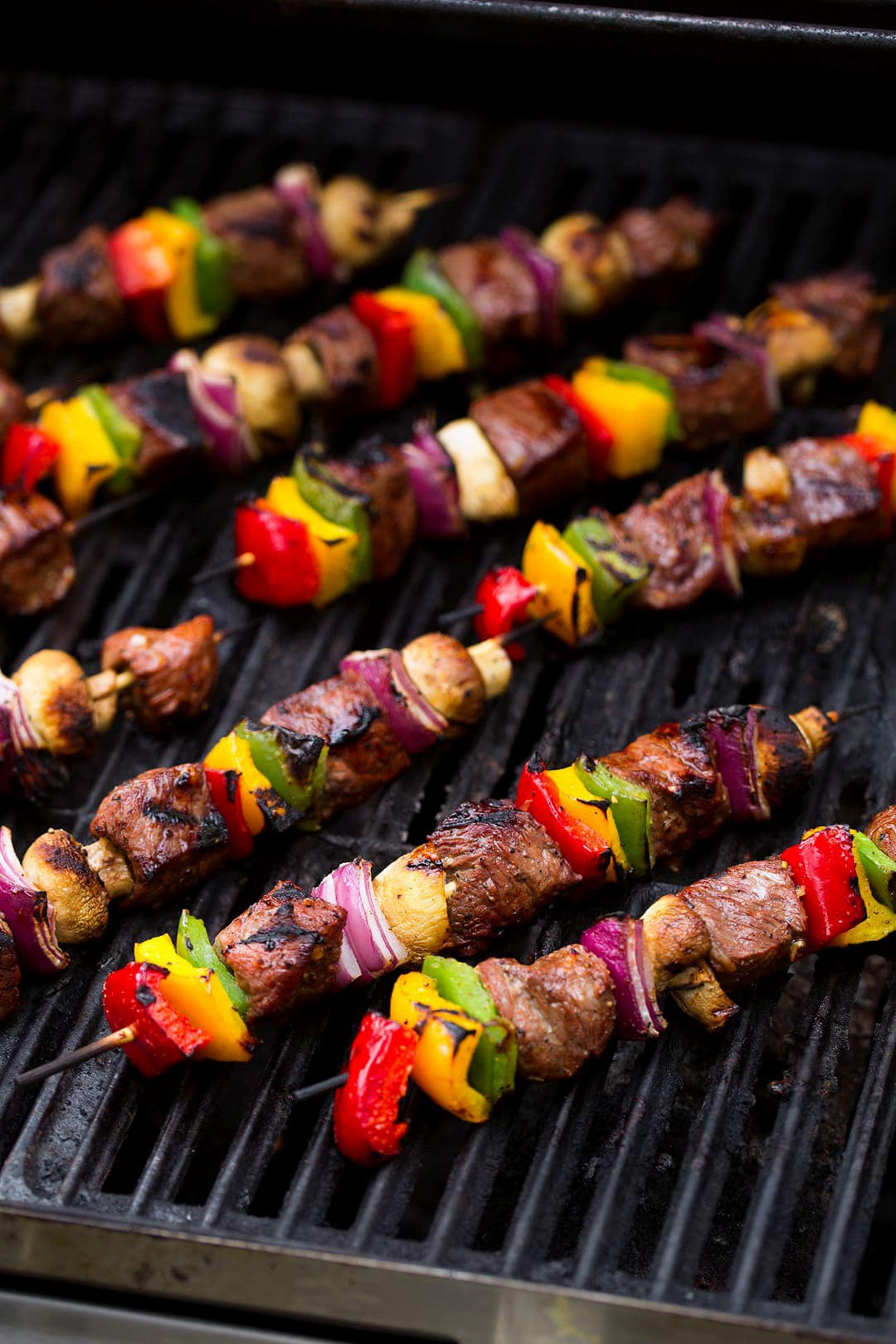 Steak skewers on the grill.