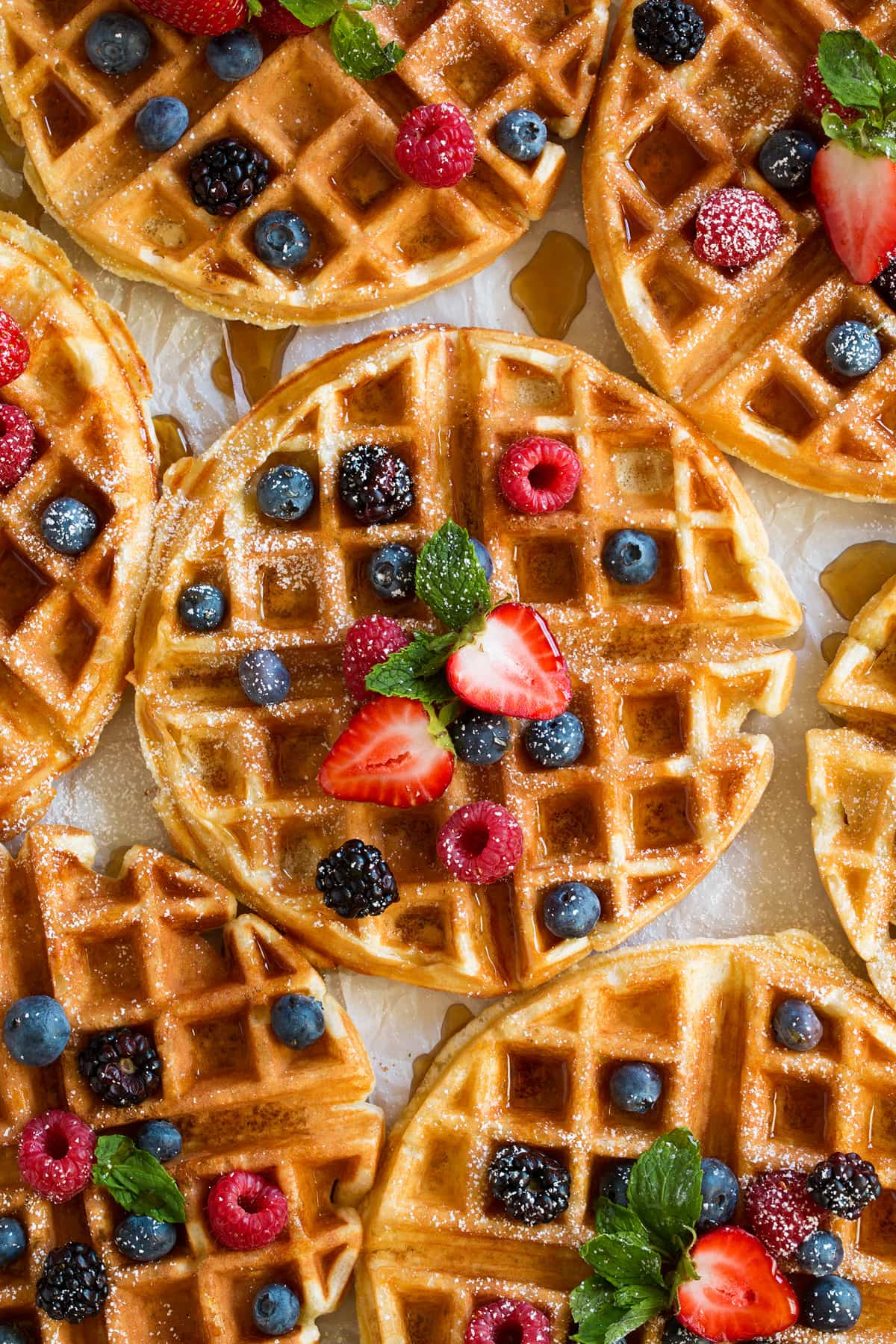 Close up image of Belgian waffles.