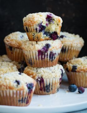 Stack of homemade blueberry muffins on a plate.