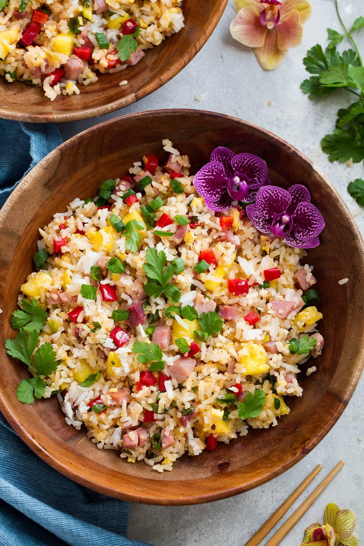 Overhead image of hawaiian fried rice in a bowl.
