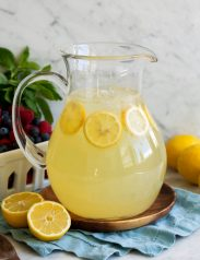 Lemonade in a large glass pitcher.