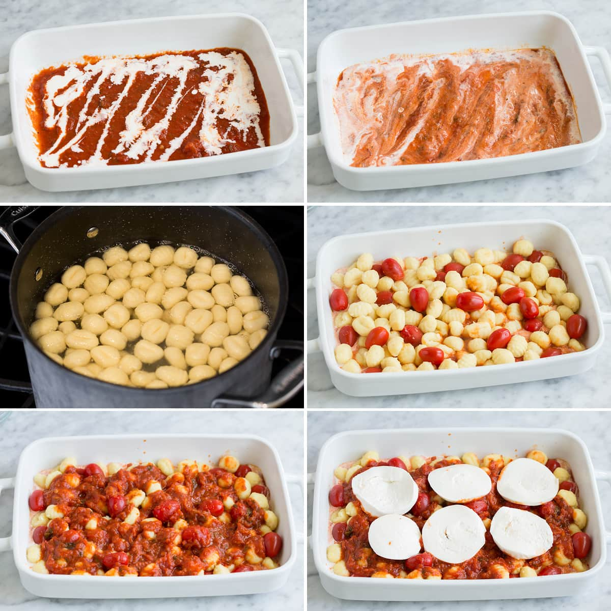 Image of steps showing how to make baked gnocchi in a casserole dish.