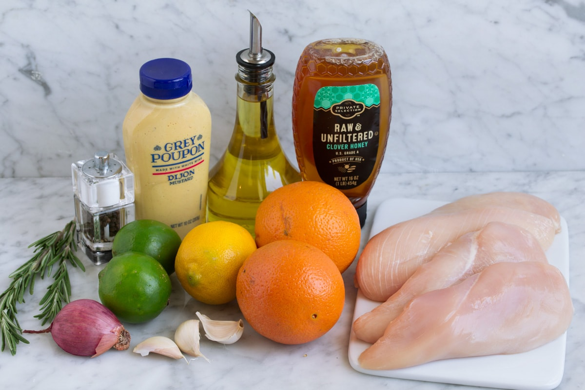 Chicken marinade ingredients.