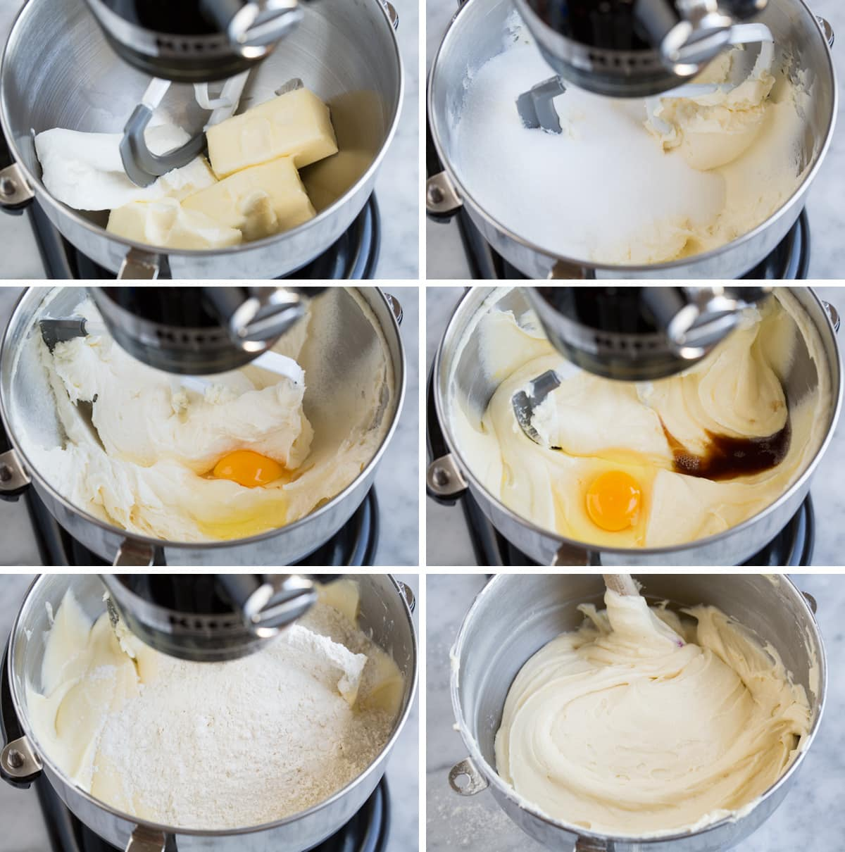 Showing steps of making pound cake batter in an electric stand mixer bowl.